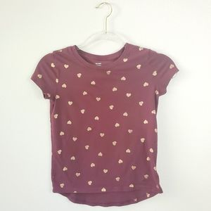Old Navy Relaxed Gold Foil Heart Burgundy T